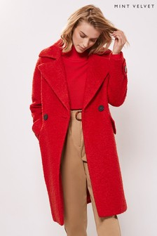 Mint Velvet Red Textured Cocoon Coat