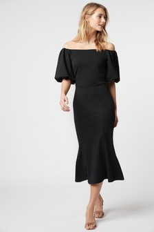 Bardot Puff Sleeve Midi Dress