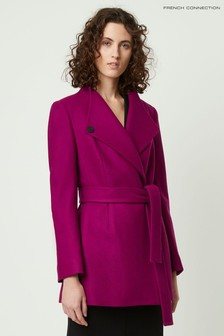 French Connection Purple Carmelita Plat Felt Cross Over Coat