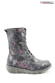 Heavenly Feet Martina Black Floral Lace Mid Calf Wedge Boots