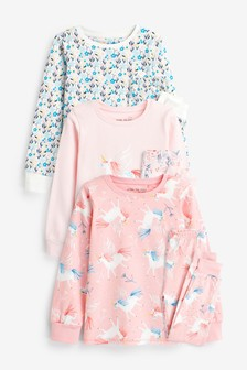3 Pack Pretty Unicorn Snuggle Pyjamas (9 мес. - 8 лет)