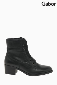 Gabor Black Iria Womens Leather Ankle Boots