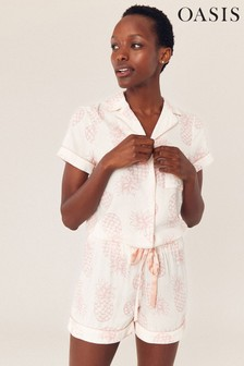 Oasis White Pineapple Pyjama Shirt