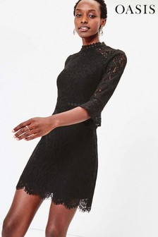 Oasis Black Lace Shift Dress