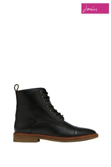 Joules Black Clarence Lace Up Leather Boots