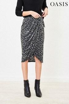 Oasis Grey Animal Velvet Wrap Skirt