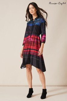 Phase Eight Black Sena Satin Print Dress