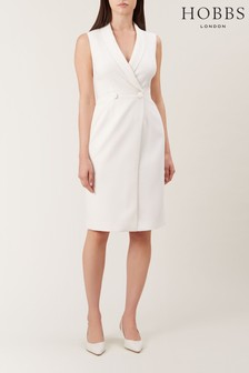 Hobbs White Sleeveless Lana Tux Dress