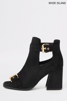 River Island Black Tommi Double Buckle Shoe Boots