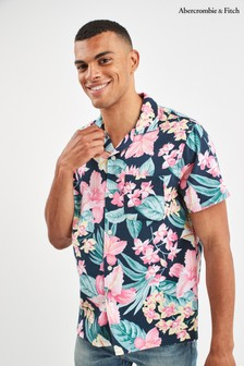 Abercrombie & Fitch Navy Short Sleeve Floral Shirt