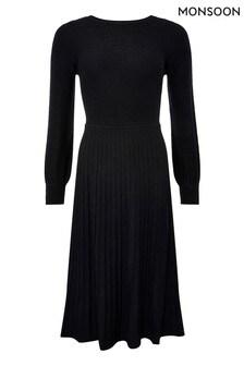 Monsoon Black Slash Neck Dress
