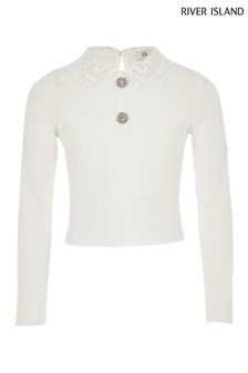 River Island Ribbed Lace Collar Top