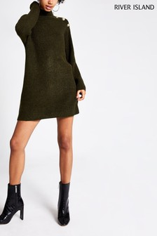 River Island Khaki Caine Button Shoulder Jumper Dress