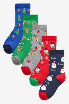 5 Pack Cushioned Sole Christmas Socks (Older)