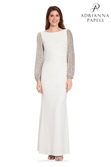 Adrianna Papell White Crepe And Sequin Gown