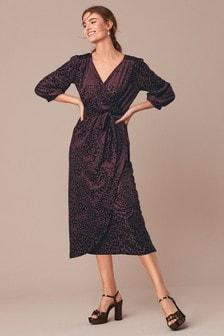 Трикотажное платье с запахом с анималистическим принтом и с эффектом «деворе»