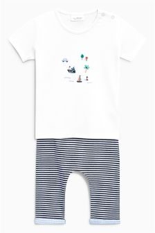 Embroidered T-Shirt And Stripe Leggings Set (0mths-2yrs)