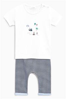 刺绣T恤和条纹打底裤套装 (0个月-2岁)