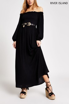 River Island Black Sheered Bardot Maxi Dress