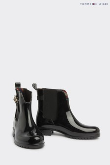 Tommy Hilfiger Black Hardware Wellie Boots