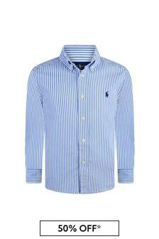 Boys Blue Striped Cotton Shirt