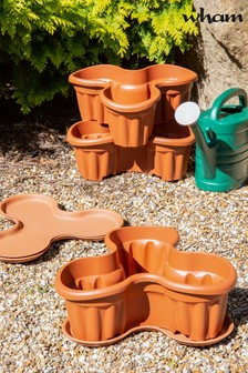 Set of 3 Vista Medium Plastic Tri-Planter & Tray