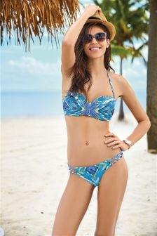 Geo Print Embellished Bandeau Bikini Top