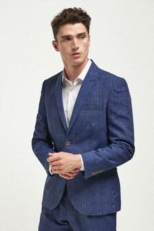 Linen Blend Check Suit: Jacket