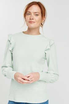 Cosy Ruffle Sleeve Top
