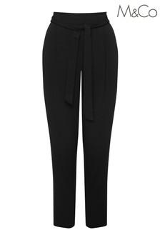 M&Co Black Tie Waist Soft Trousers