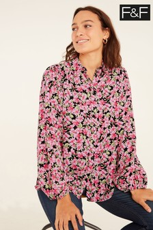 F&F Romantic Floral Balloon Sleeve Blouse