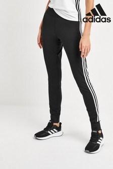 adidas Black 3 Stripe Cuffed Joggers