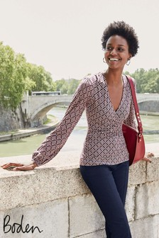 Boden Brown Elodie Jersey Wrap Top