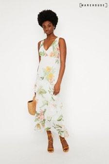 Warehouse Maxikleid mit tropischem Blumenmuster, schwarz