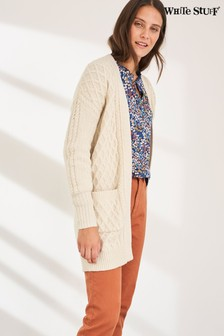 White Stuff Ivory Cinnamon Cable Longline Cardigan