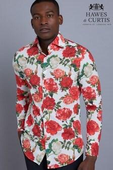 Hawes & Curtis White Rose Print Slim Fit Shirt