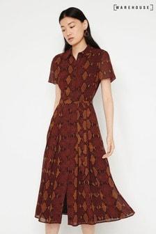 Warehouse Orange Snake Print Midi Shirt Dress