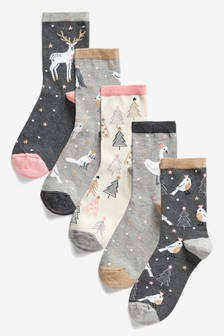 Sparkle Animal Ankle Socks Five Pack