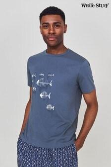 White Stuff Blue Ghost Nets Organic Graphic T-Shirt