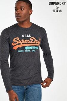 Superdry Langärmeliges T-Shirt, Schwarz