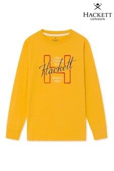 Hackett H Shirt mit langen Ärmeln und Logo, Gelb
