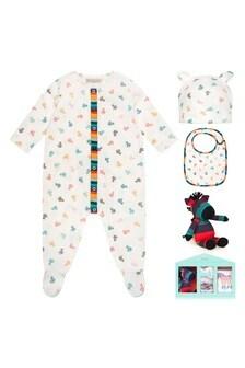 Baby Boys White Cotton Babygrow Gift Set