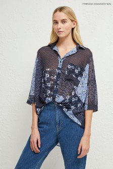 French Connection Blue Patchwork Floral Twist Front Shirt