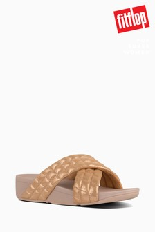 FitFlop™ Pink Lulu Padded Shimmy Suede Slides