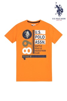 U.S. Polo Assn. Orange Vertical 1890 Club T-Shirt