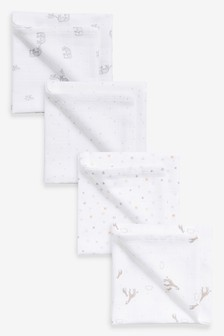 4 Pack Muslin Squares (Newborn)