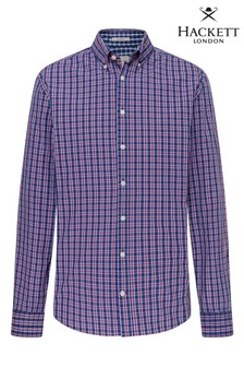 Hackett Blue Slim Fit Hkt Delave Preppy Check Shirt