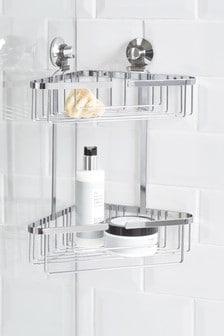 מתקן שני מדפים למקלחת מנחושת