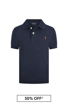 Boys Navy Custom Fit Polo Top