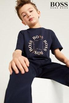 BOSS Navy Gold Capsule Logo T-Shirt